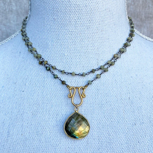 Cats Eye and Labradorite Necklace