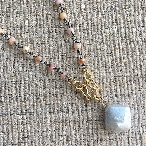 Signature Necklace in Pink Opal & Pearl