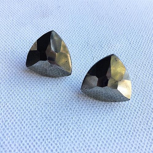 Trillion Cut Pyrite Stud Earrings