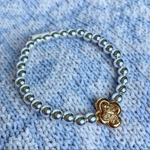 Silver Hematite Clover Bracelet