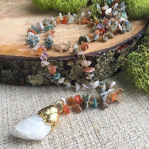 Moonstone & Multi-Gemstone Artisan Necklace