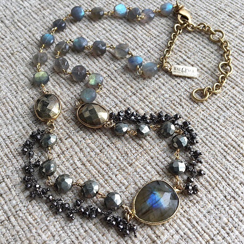 Mixed Metal & Labradorite Collar Necklace