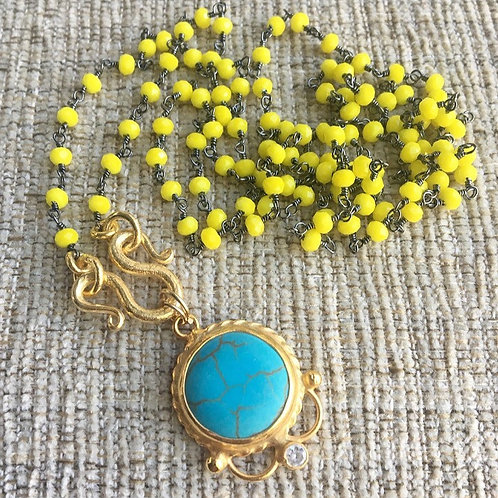 Yellow Chalcedony & Turquoise Signature Wrap Necklace Necklace