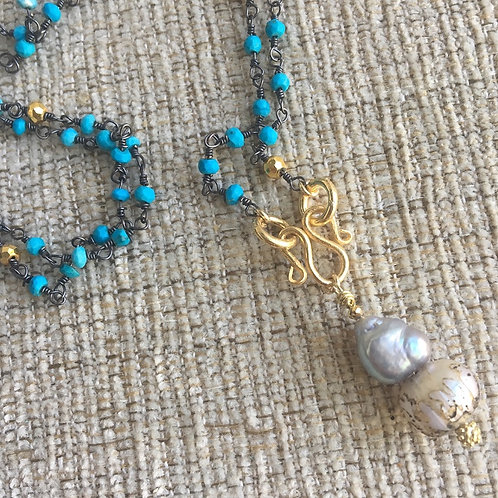 Signature Necklace in Turquoise & Mantra Pearl