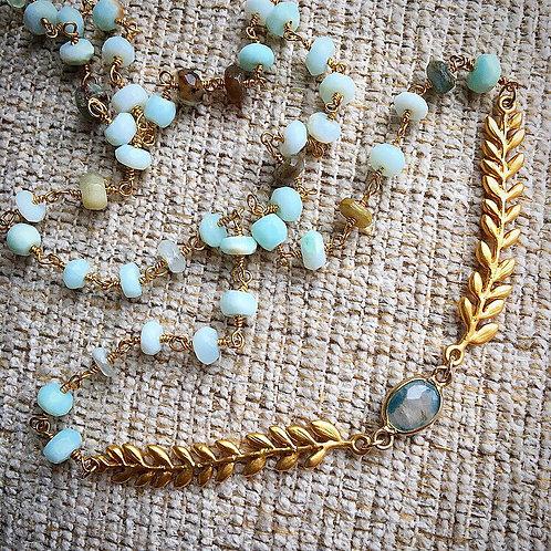 Peruvian Opal & Sapphire Necklace