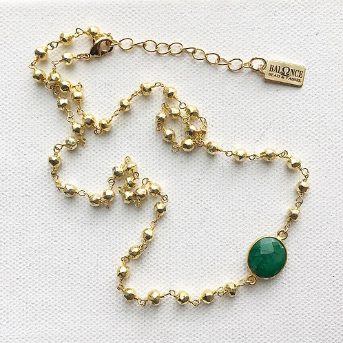 Golden Pyrite & Emerald Necklace