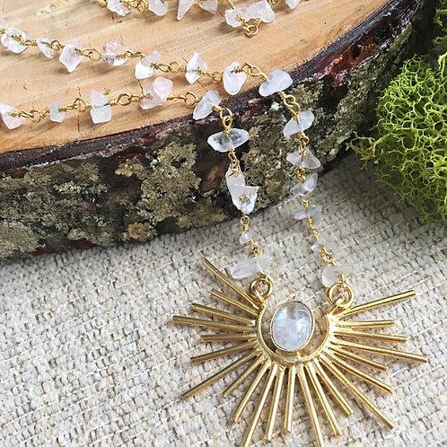 Rising Sun Artisan Necklace in Moonstone