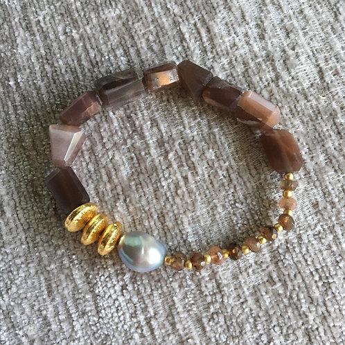 Chocolate Moonstone & Silver Pearl Bracelet