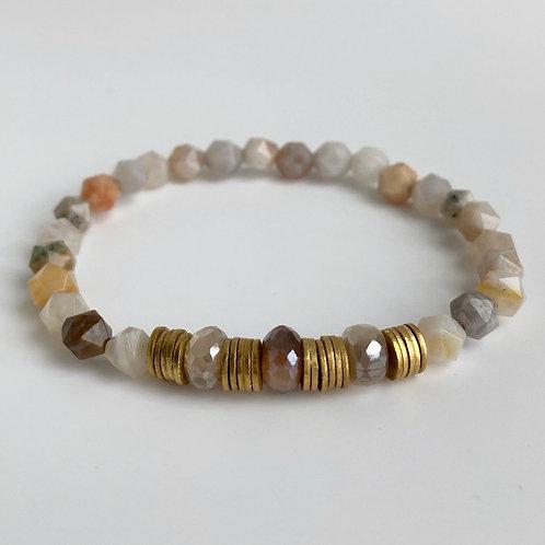 Bamboo Agate & Moonstone Bracelet