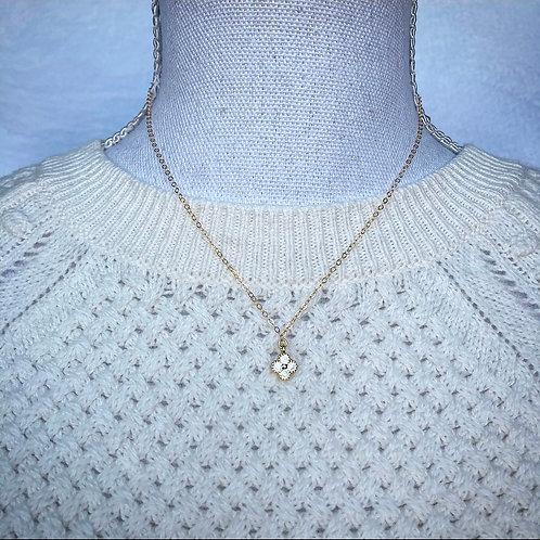 Vermeil Gold CZ Clover Necklace