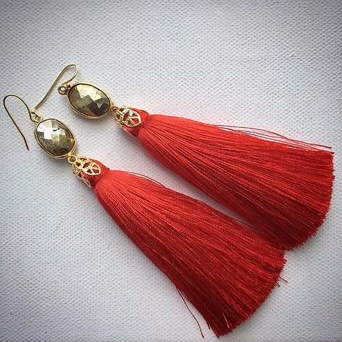 Red Pyrite Party Earrings