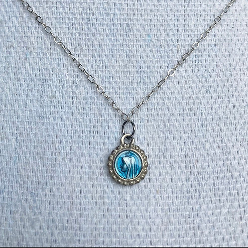 Vintage Sterling Our Lady of Lourdes Necklace