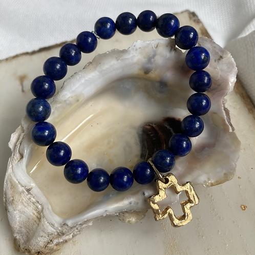 Lapis Cross Bracelet