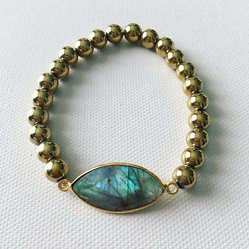 Golden Hematite & Marquis Labradorite Bracelet