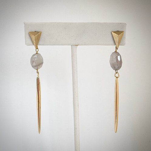 Mystic Gray Moonstone Spike Earrings