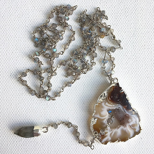 Silver Labradorite & Agate Adjustable Lariat Necklace