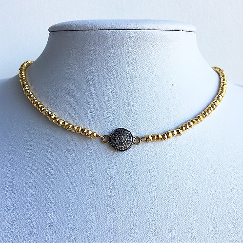 Golden Pyrite & Diamond Choker