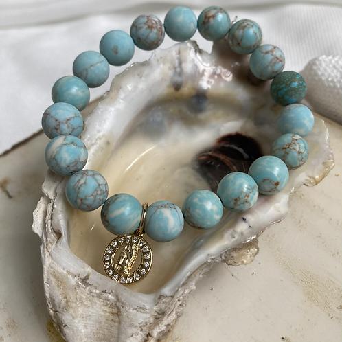 Turquoise Virgin Mary Bracelet