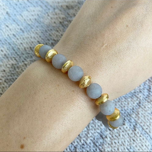 Light Gray Agate Accent Bracelet