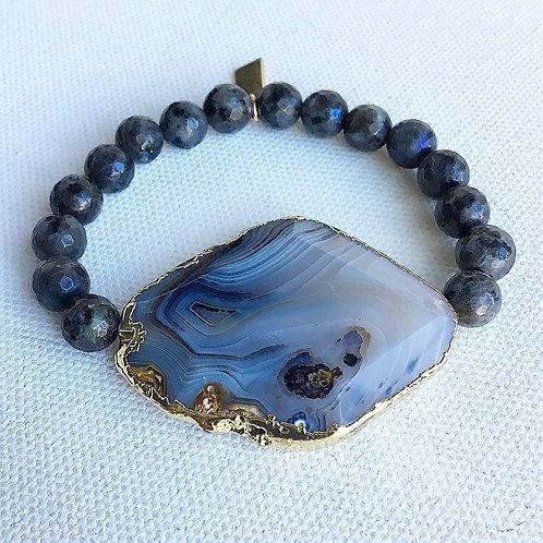 Mystic Labradorite & Agate Bracelet
