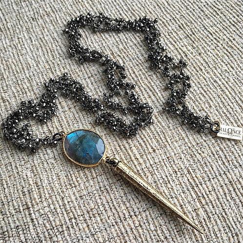 Black Pyrite & Labradorite Spike Necklace