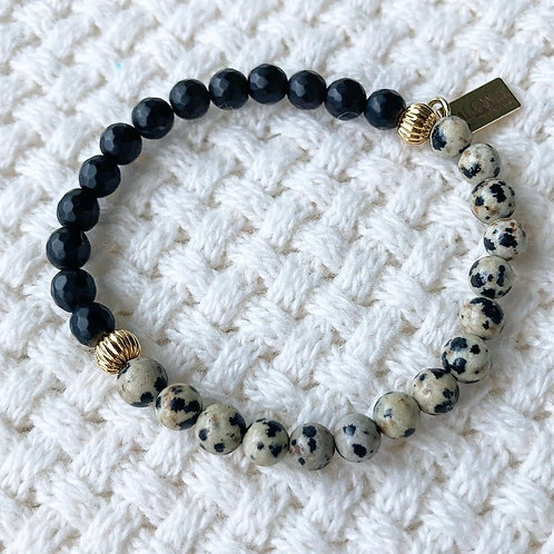 Matte Black Onyx & Dalmatian Jasper Bracelet