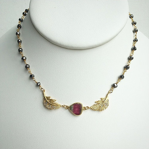 Dainty Watermelon Tourmaline & Pyrite Necklace II