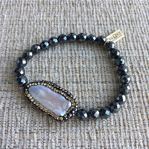 Gunmetal Hematite Pearl Bracelet