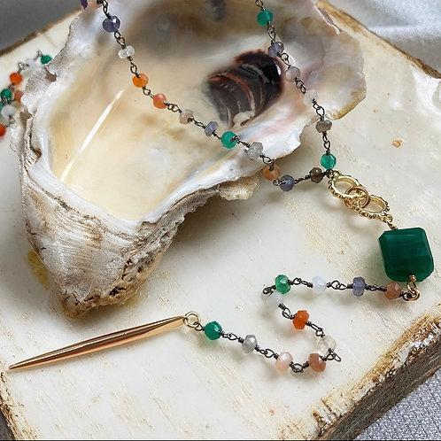 Green Onyx & Multi Gem Lariat Necklace