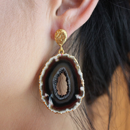 Chocolate & Gold Agate Earrings