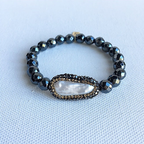 Hematite & Gold Crystal Freshwater Pearl Bracelet