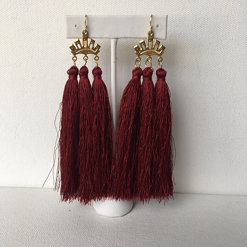 Vintage Triple Crown Earrings in Burgundy