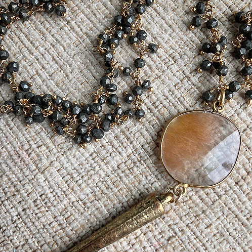 Pyrite & Rutile Quartz Spike Necklace