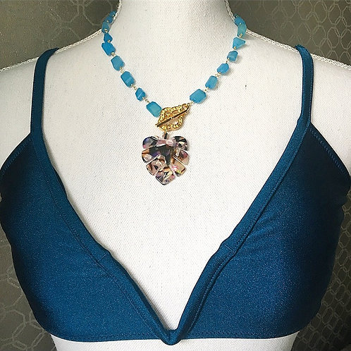 Blue Chalcedony Tropical Statement Necklace