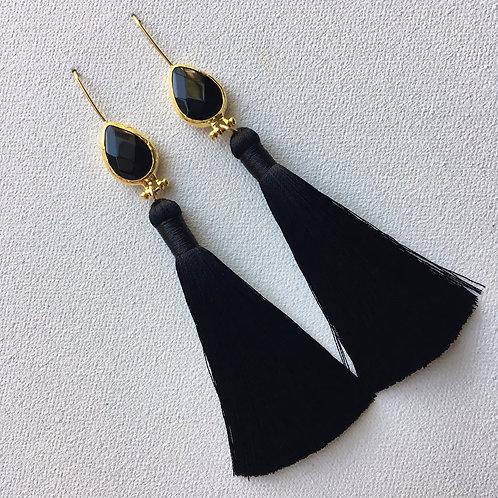 Black Onyx Tassel Earring
