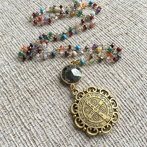 Multi-Gemstone & Pyrite St. Benedict Necklace