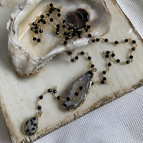Black Spinel & Agate Lariat Necklace