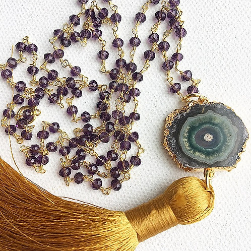 Amethyst & Gold Tassel Necklace