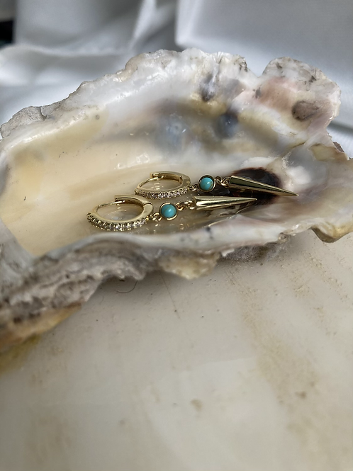 Turquoise Stud Pavè Spike Huggie Earrings