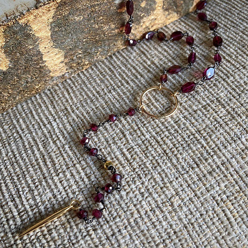 Garnet & Gold filled Lariat