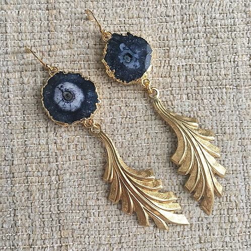 Black Solar Quartz Deco Earrings