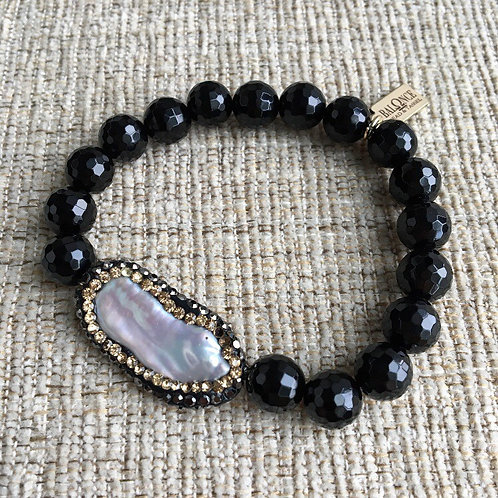 Black Onyx & Pearl Bracelet