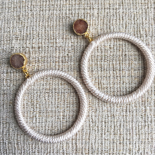 Druzy & Beige Threaded Hoops