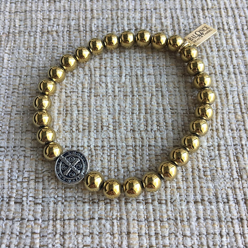 Golden Hematite St. Benedict Bracelet