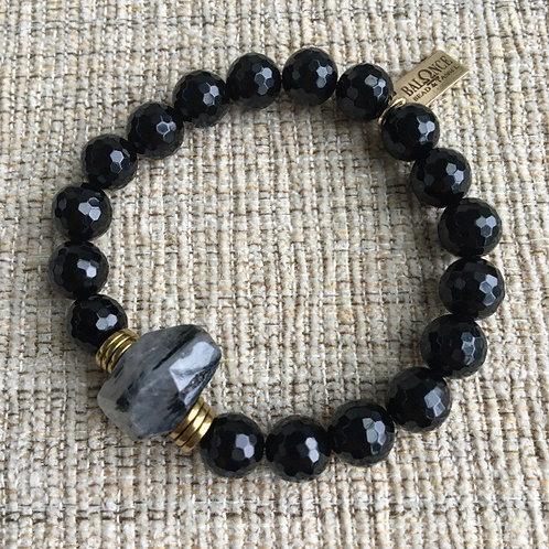 Rutile Quartz & Black Onyx Bracelet