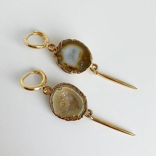 Tan Geode Spike Earrings