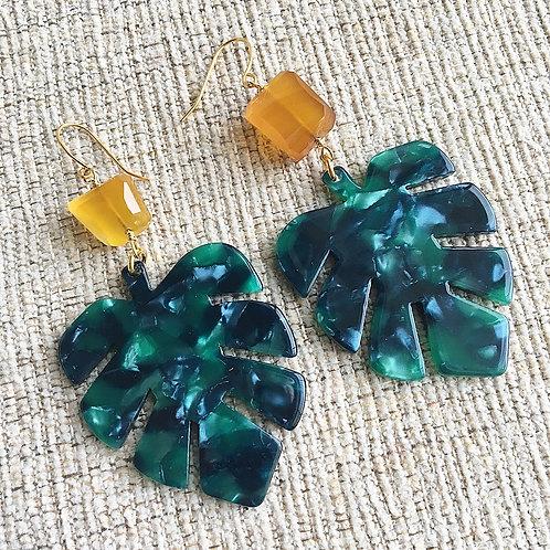 Yellow Chalcedony & Resin Earrings
