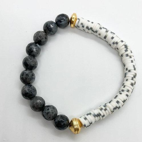 Labradorite & Speckled Vinyl Bracelet