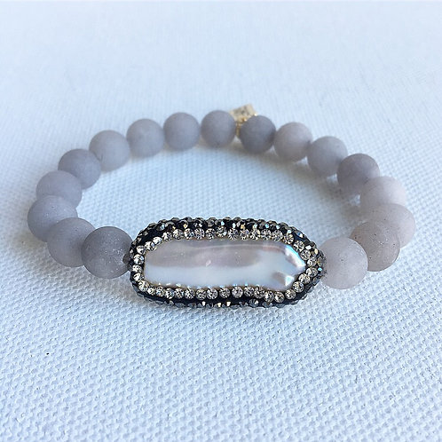Matte Gray Jade & Silver Crystal Freshwater Pearl Bracelet