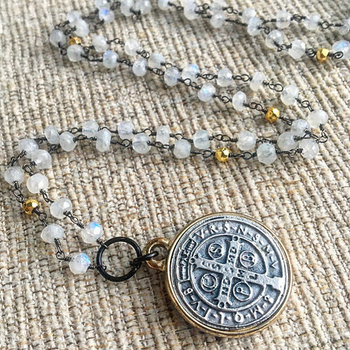 Oxidized Silver & Moonstone St. Benedict Necklace